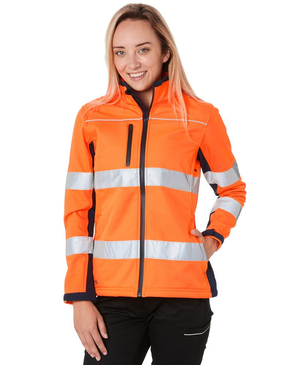 Womens Taped Two Tone Hi Vis Soft Shell Jacket * - Orange/Navy