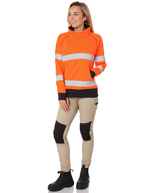 Womens Taped Hi Vis Fleece Jumper - Orange