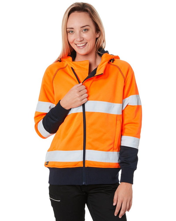 Womens Taped Hi Vis Fleece Hoodie - Orange