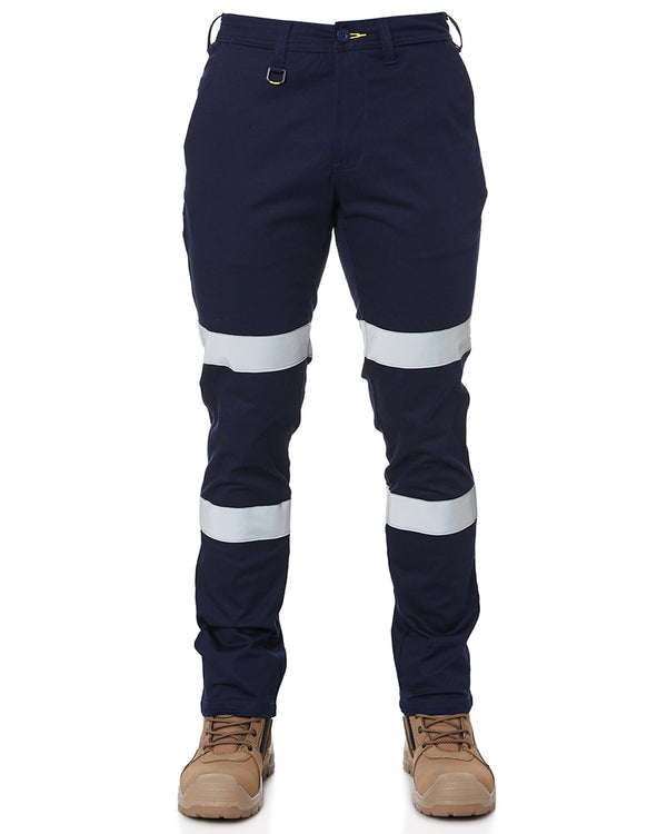 Taped Biomotion Stretch Cotton Drill Work Pants - Navy