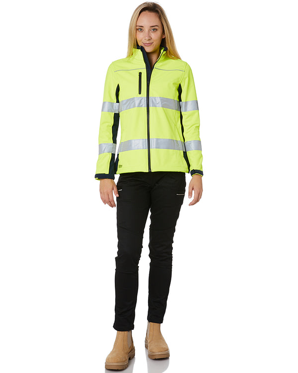 Womens Taped Two Tone Hi Vis Soft Shell Jacket * - Yellow/Navy