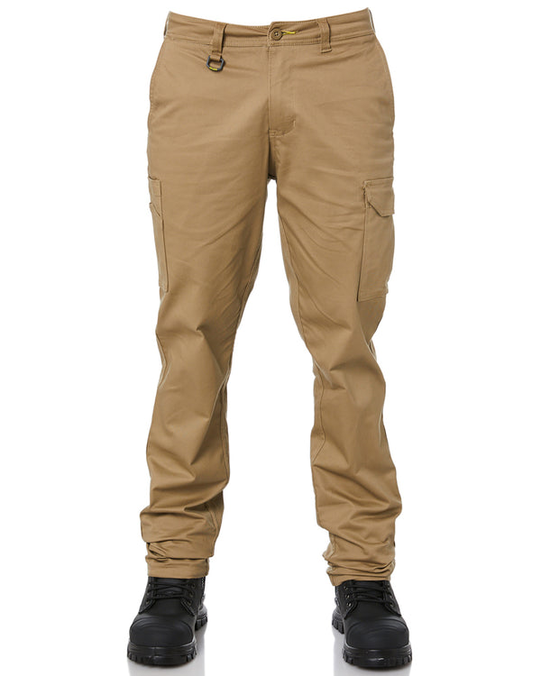 Stretch Cotton Drill Cargo Pants - Khaki