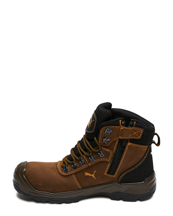 Scuff Cap Waterproof Work Boot With Zip - Brown/Yellow