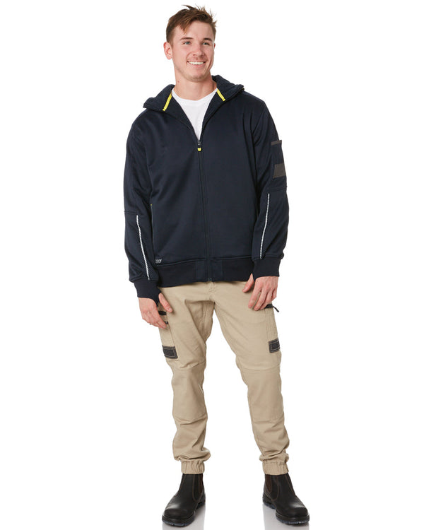 Zip-Front Work Fleece Hoodie - Navy
