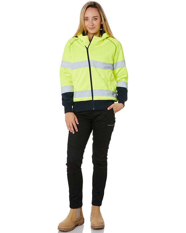 Womens Taped Hi Vis Fleece Hoodie - Yellow