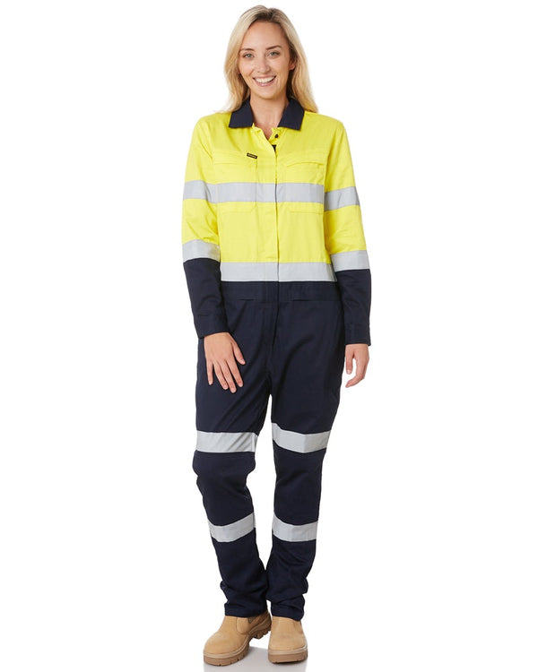 Womens Taped Hi Vis Cotton Drill Coverall * - Yellow/Navy