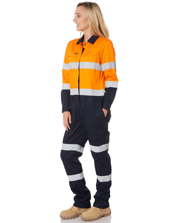 Womens Taped Hi Vis Cotton Drill Coverall * - Orange/Navy