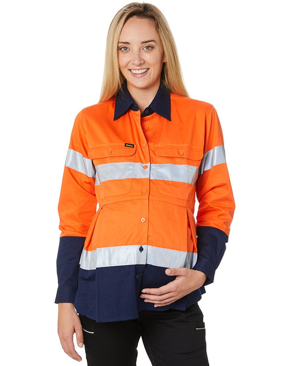 Womens 3M Taped Hi Vis Maternity Drill Shirt * - Orange/Navy