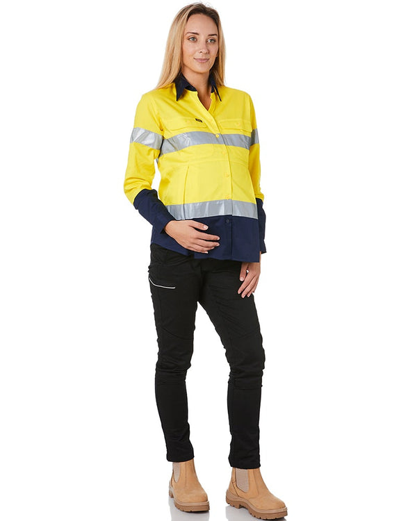 Womens 3M Taped Hi Vis Maternity Drill Shirt * - Yellow/Navy