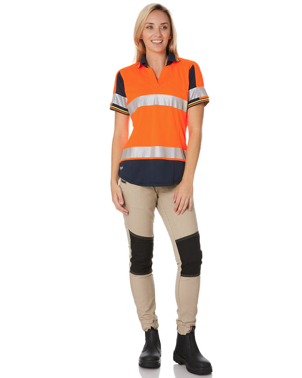 Womens S/S Taped Hi Vis V-Neck Polo - Orange/Navy