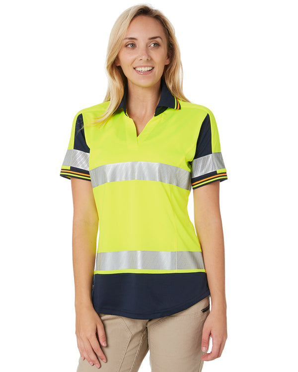 Womens S/S Taped Hi Vis V-Neck Polo - Yellow/Navy