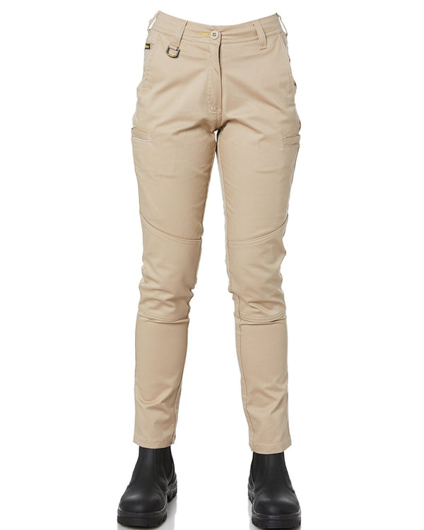 Womens Mid Rise Stretch Cotton Pants - Stone