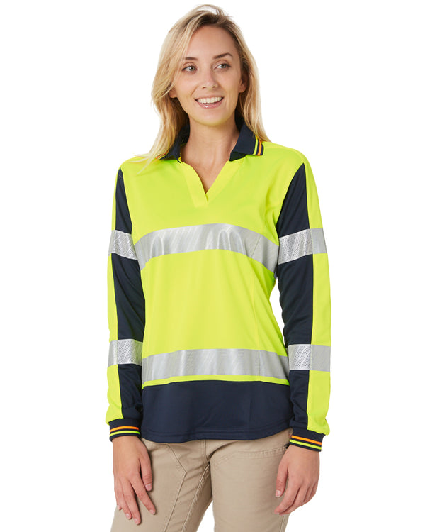 Womens L/S Taped Hi Vis V-Neck Polo - Yellow/Navy