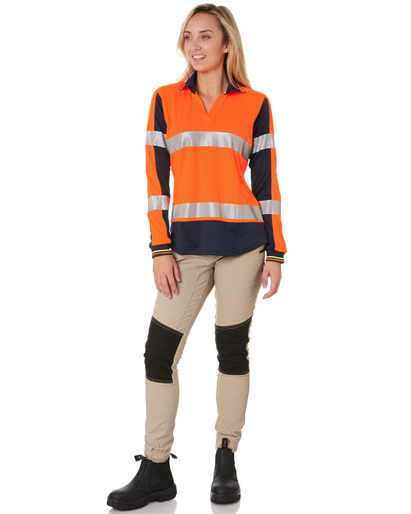 Womens L/S Taped Hi Vis V-Neck Polo - Orange/Navy