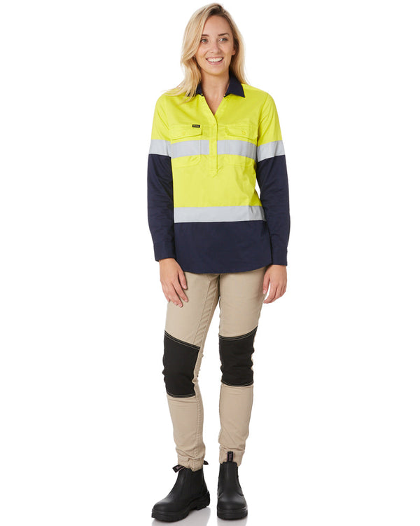 Womens Taped Hi Vis Stretch V-Neck Shirt - Yellow/Navy