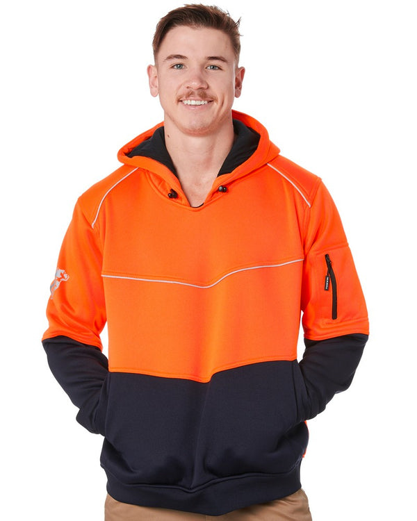 Xenon Hi Vis Fleece Hoodie - Orange/Navy