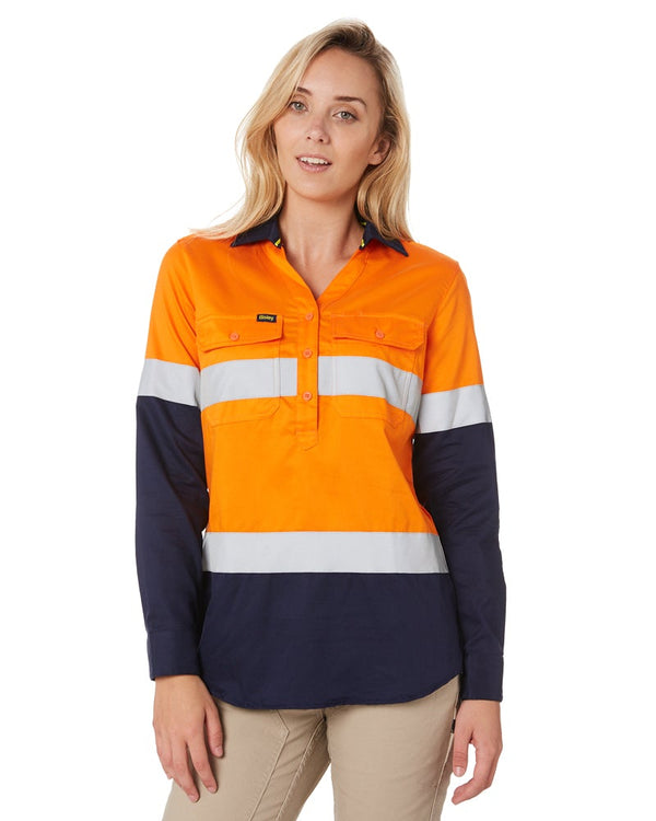 Womens Taped Hi Vis Stretch V-Neck Shirt - Orange/Navy