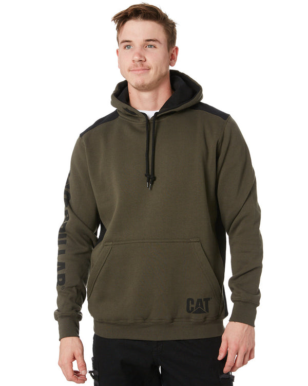 Logo Panel Hooded Sweatshirt - Army Moss
