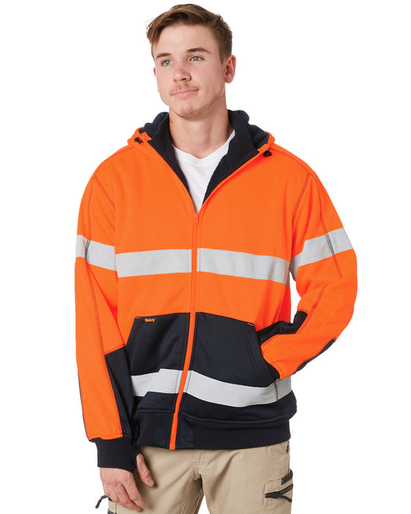 Hi Vis Fleece Hoodie With Sherpa Lining - Orange/Navy