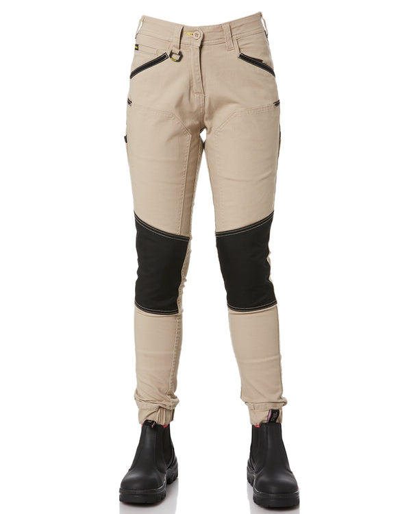 Womens Flex and Move Stretch Cotton Shield Cuff Pants - Stone