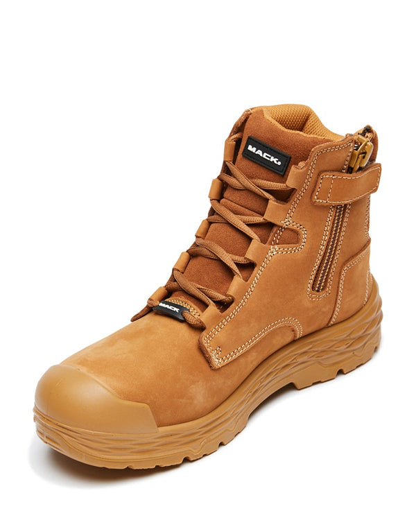 Force Lace Up Safety Boot with Zip - Honey