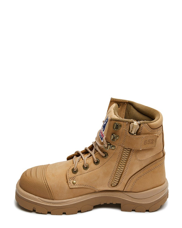 Argyle Lace Up Safety Boot with Zip and Scuff Cap - Sand