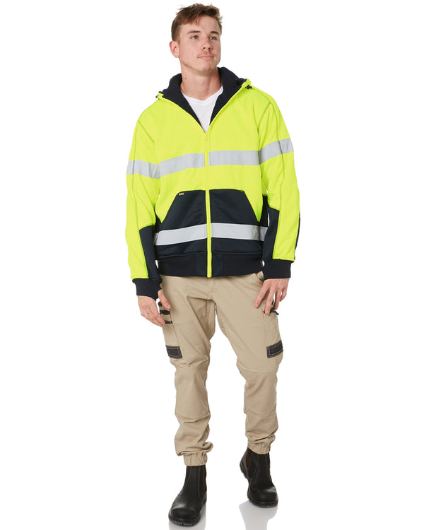 Hi Vis Fleece Hoodie With Sherpa Lining - Yellow/Navy