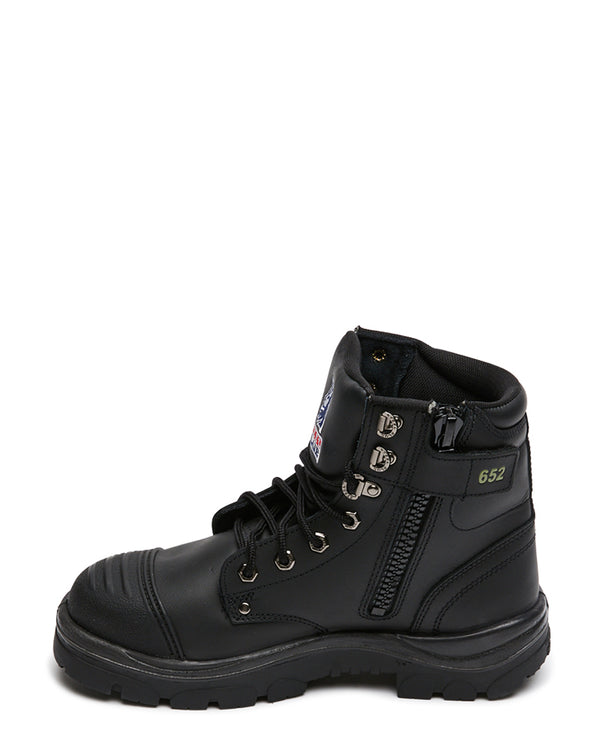 Argyle Lace Up Safety Boot with Zip and Scuff Cap - Black