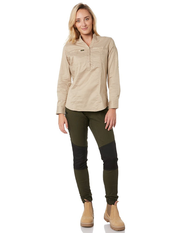 Womens Flex and Move Stretch Cotton Shield Cuff Pants - Olive