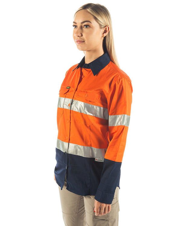 3M Taped Hi Vis Cool Lightweight LS Shirt - Orange/Navy