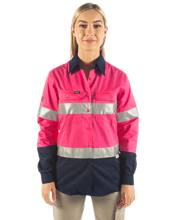 3M Taped Hi Vis Cool Lightweight LS Shirt - Pink/Navy