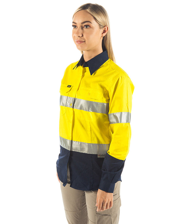 3M Taped Hi Vis Cool Lightweight LS Shirt - Yellow/Navy