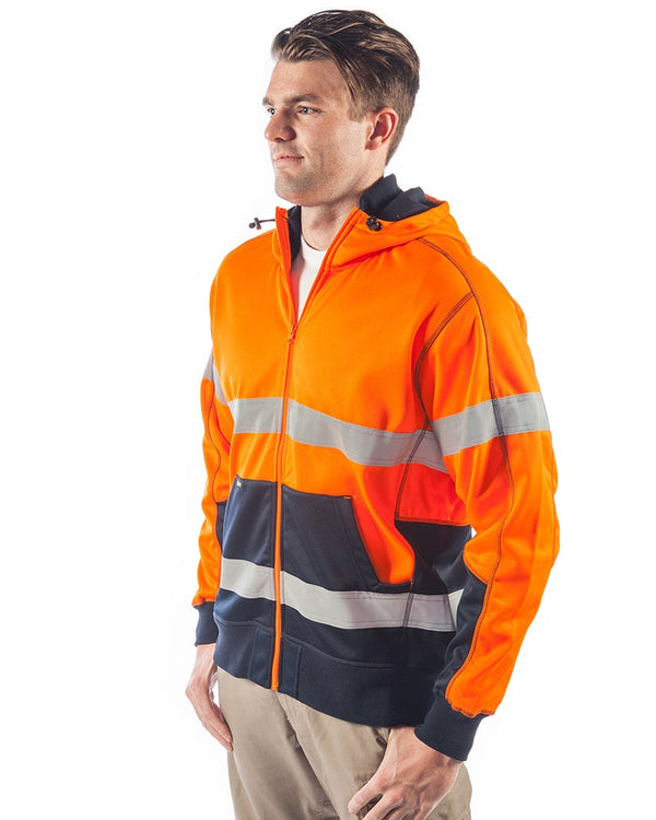Bisley Hi Vis Taped Fleece Hoodie - Orange/Navy