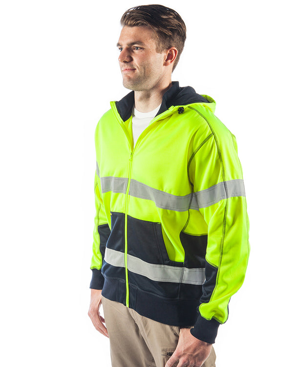 Bisley Hi Vis Taped Fleece Hoodie - Yellow/Navy