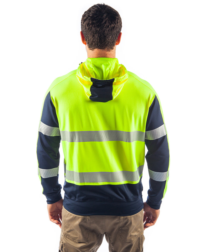Taped Hi Vis Stretchy Fleece Hoodie - Yellow/Navy