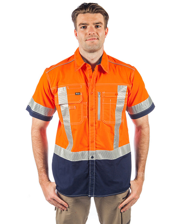 Flex & Move X Taped Hi Vis SS Utility Shirt - Orange/Navy