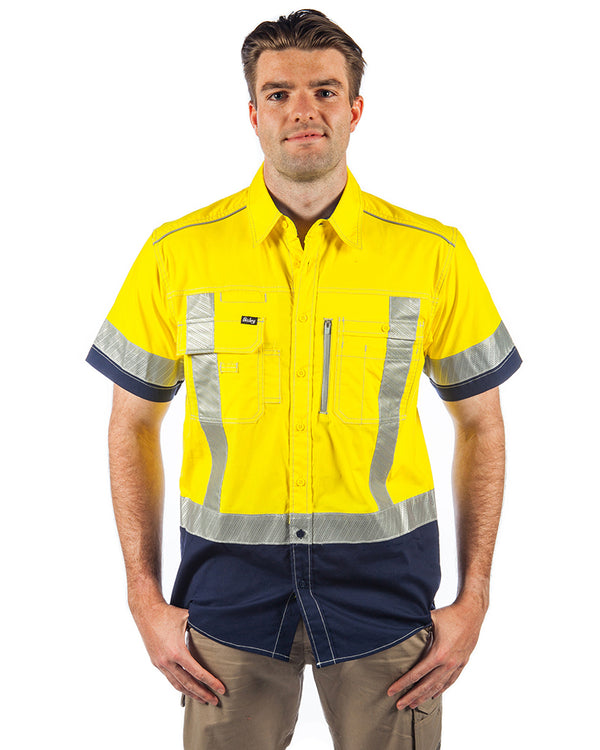 Flex & Move X Taped Hi Vis SS Utility Shirt - Yellow/Navy