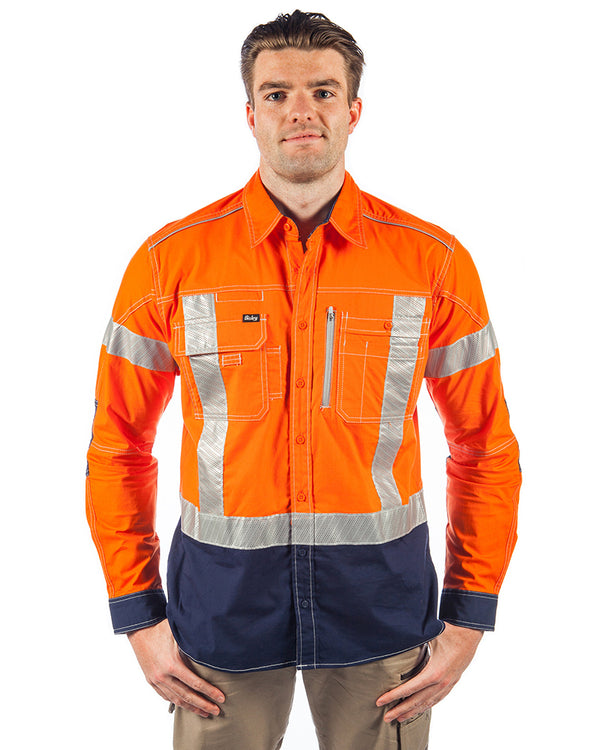 Flex & Move X Taped Hi Vis LS Utility Shirt - Orange/Navy
