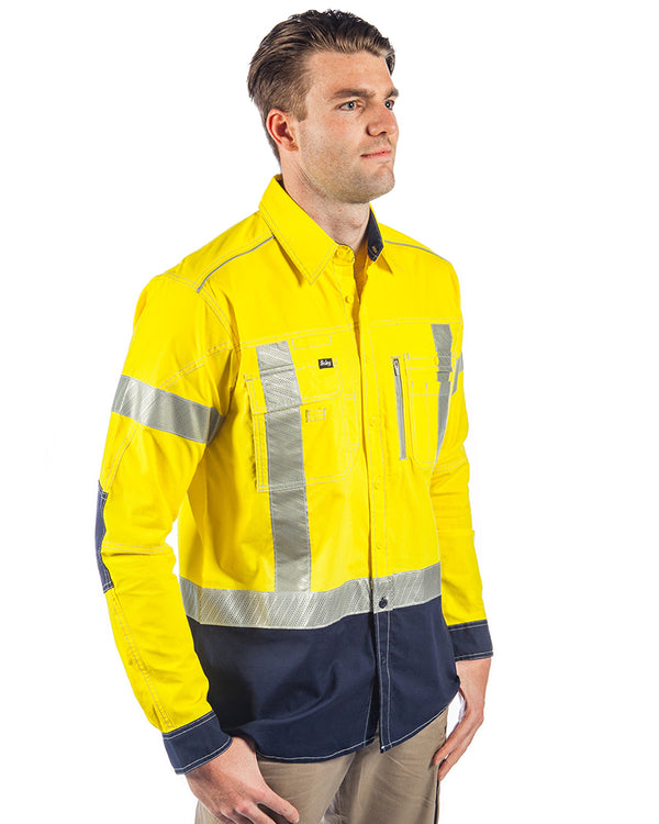 Flex & Move X Taped Hi Vis LS Utility Shirt - Yellow/Navy