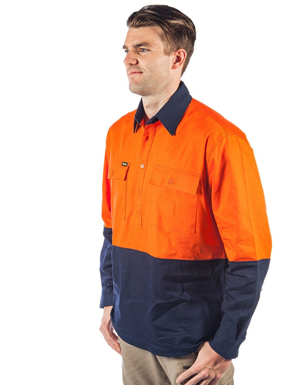 Hi Vis Closed Front LS Shirt - Orange/Navy