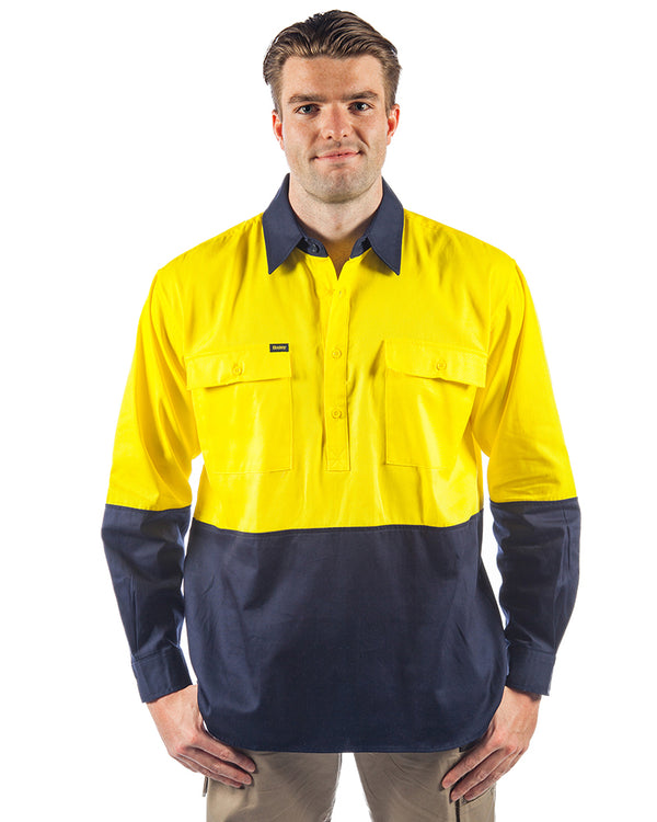 Hi Vis Closed Front LS Shirt - Yellow/Navy