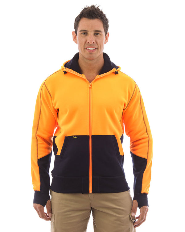 Hi Vis Fleece Hoodie - Orange/Navy