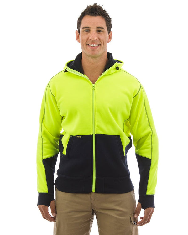 Hi Vis Fleece Hoodie - Yellow/Navy