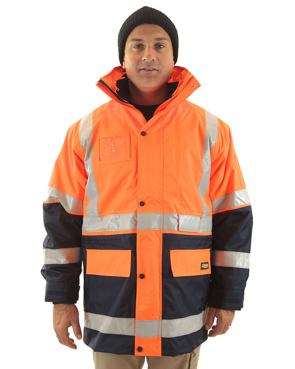 5 in 1 Rain Jacket - Orange/Navy