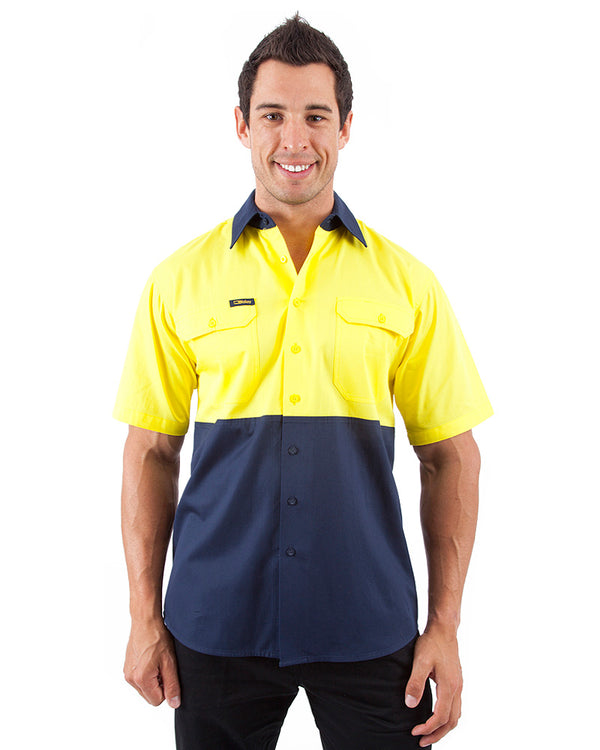 Cool Lightweight Drill Shirt SS - Yellow/Navy