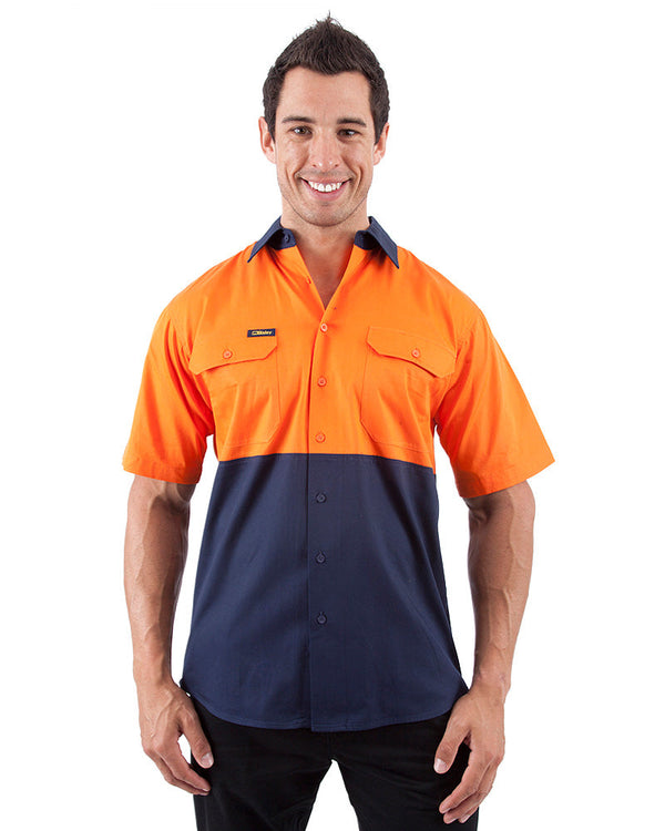 Cool Lightweight Drill Shirt SS - Orange/Navy