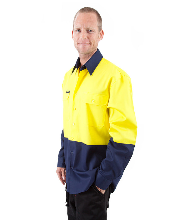 Hi Vis Drill Shirt LS - Yellow/Navy