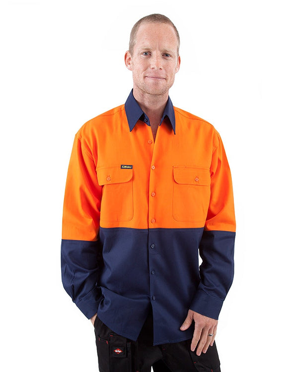 Hi Vis Drill Shirt LS - Orange/Navy