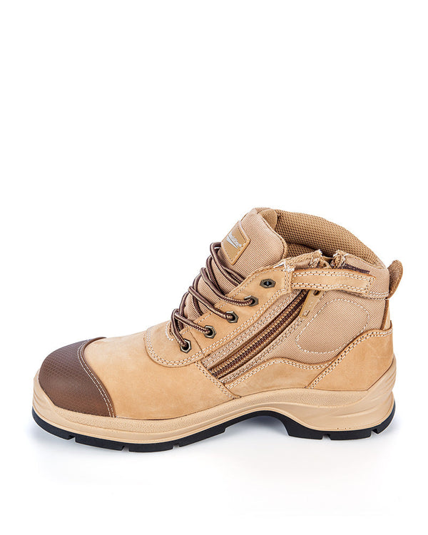 Style 318 Workfit Lace Up Zip Side Boot - Wheat