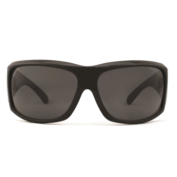 Caution Safety Sunglasses - Shiny Black/Smoke